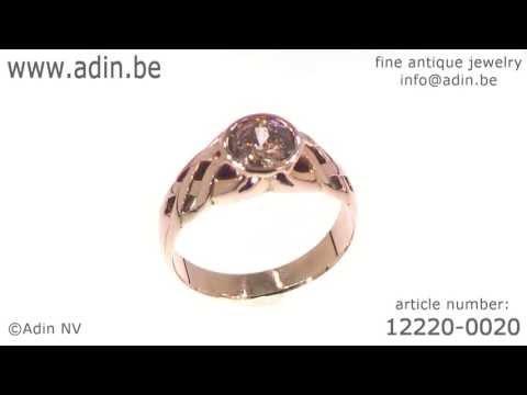 Antique gold men's ring diamond Art Nouveau jewelry. (Adin reference: 12220-0020)