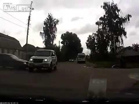 Dash cam captures close call with SUV
