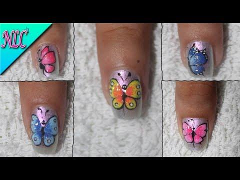 Diseños de uñas - 5 DISEÑOS DE UÑAS MARIPOSAS - BUTTERFLY NAIL ART - COMO HACER MARIPOSAS EN LAS UÑAS - NLC