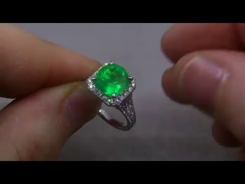 2 30ct Colombian Emerald & Diamond Halo Ring