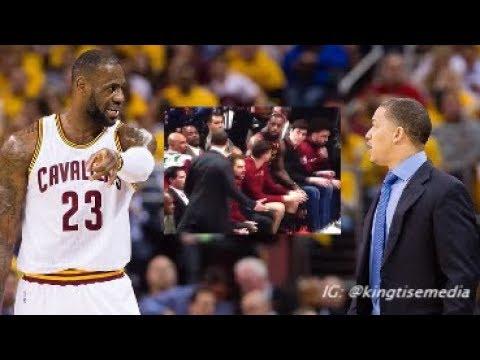 LeBron James & Tyronn Lue Fight On Cavs Bench During Trailblazers vs Cavs Game