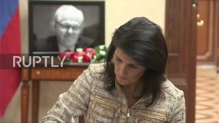 United Nations: US ambassador Nikki Haley signs Churkin's book of condolences in New York