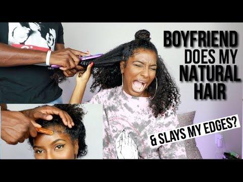 BOYFRIEND DOES MY NATURAL HAIR & MY EDGES CHALLENGE! (видео)