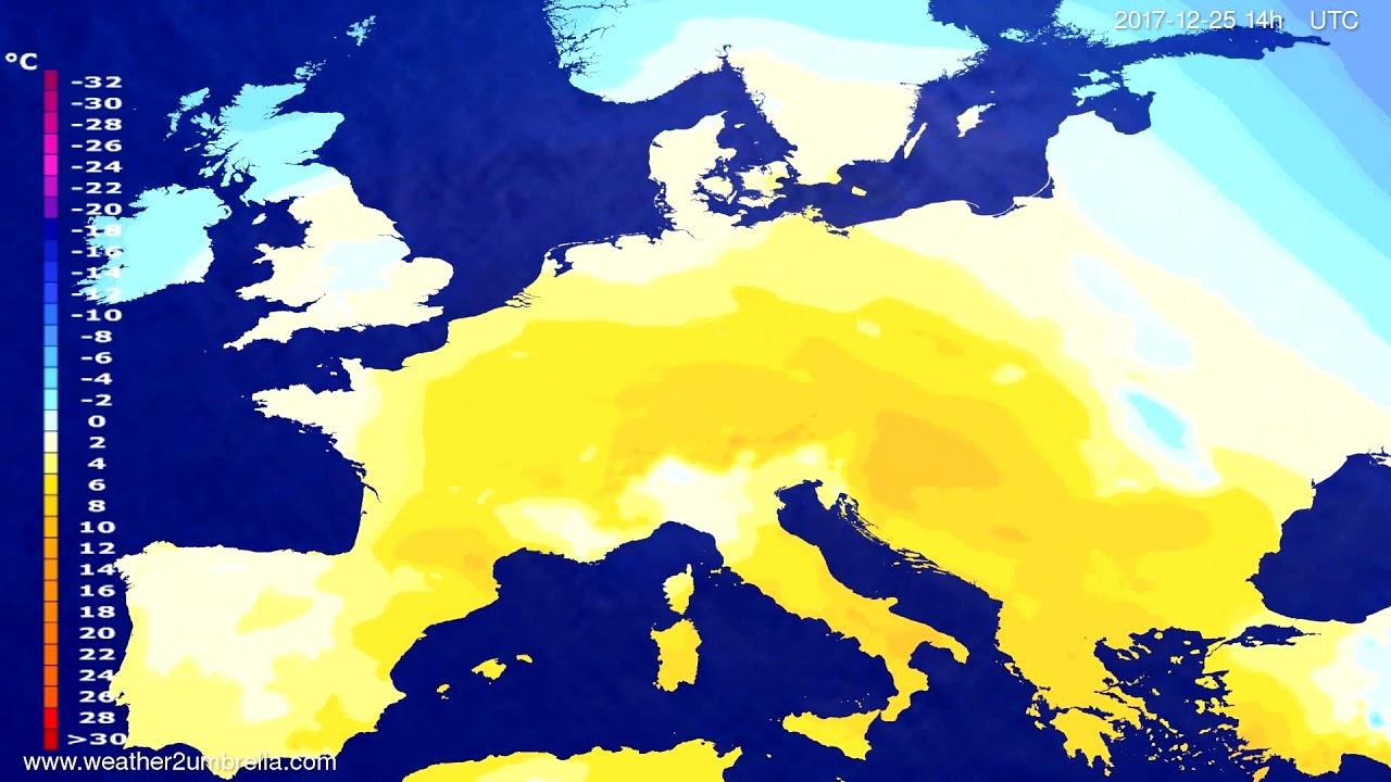 Temperature forecast Europe 2017-12-23