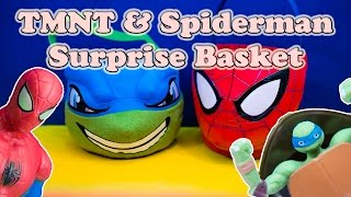 5. TEENAGE MUTANT NINJA TURTLES Nickelodeon TMNT & Spiderman Surprise Basket Toys Video
