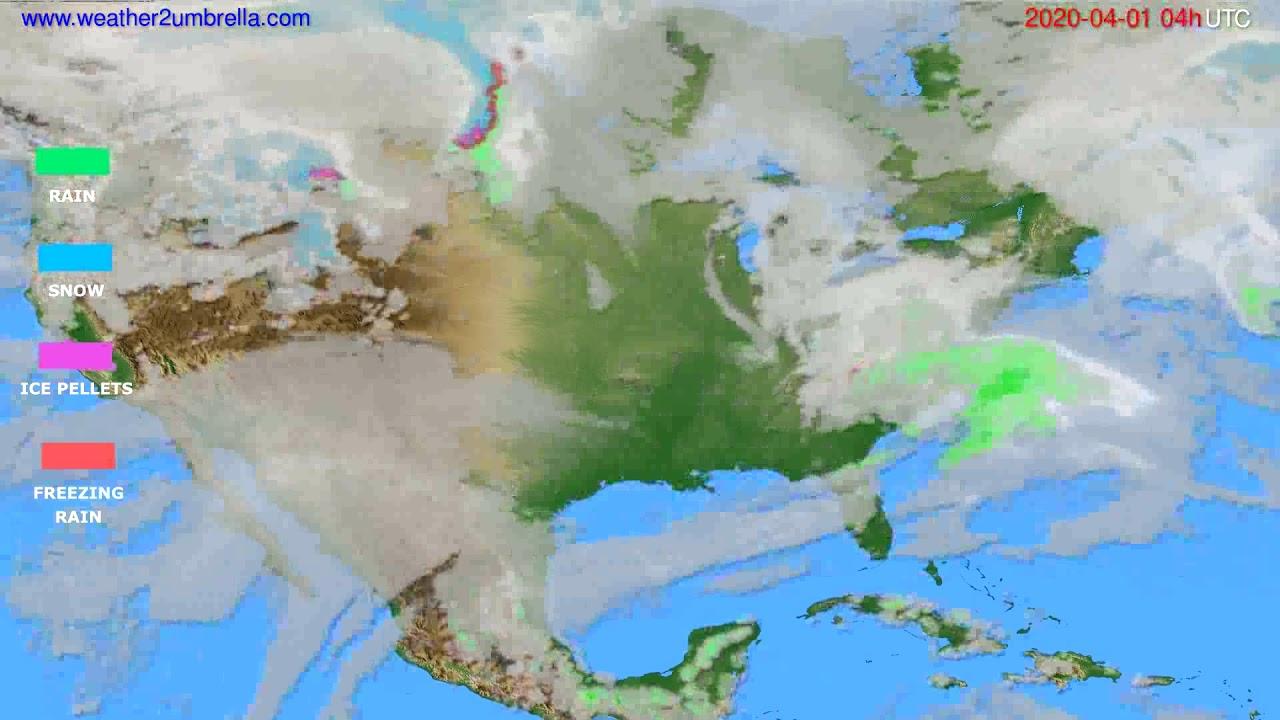 Precipitation forecast USA & Canada // modelrun: 12h UTC 2020-03-31