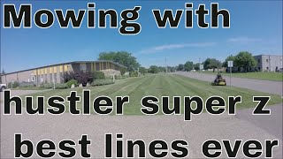 9. HOW TO MOW A LAWN WITH THE HUSTLER 60 INCH SUPER Z, BEST LINES EVER.