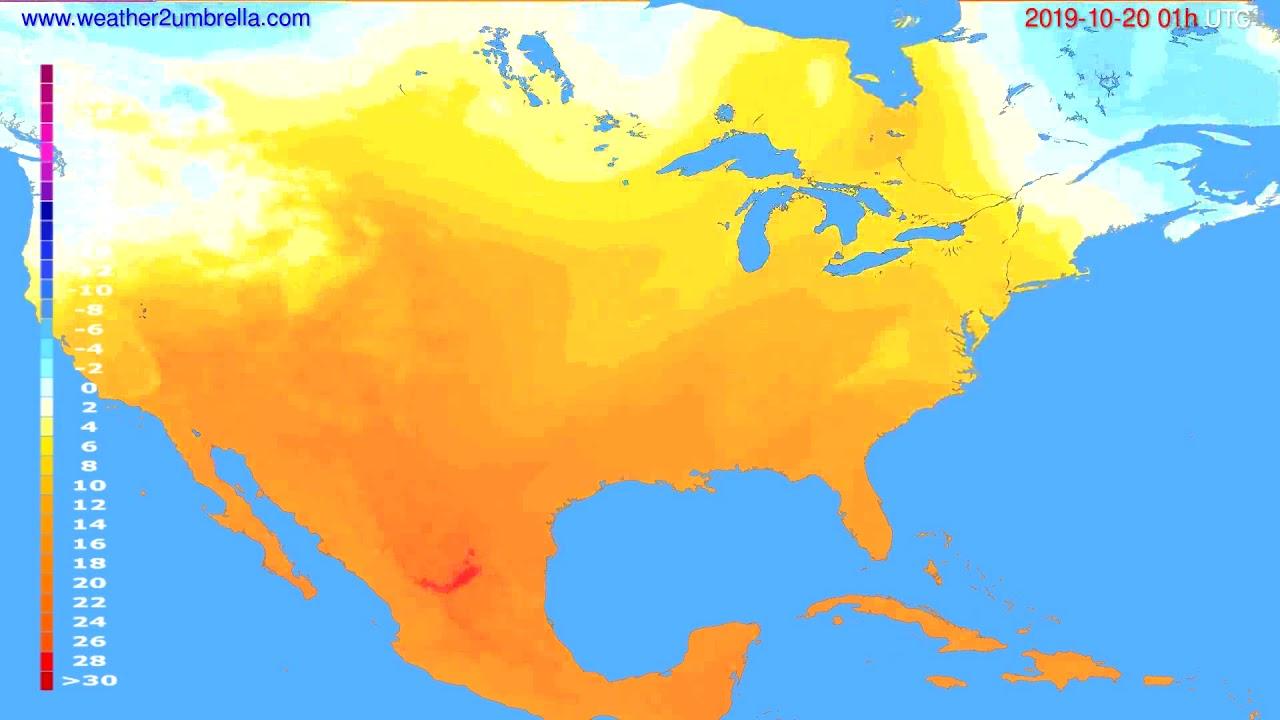 Temperature forecast USA & Canada // modelrun: 12h UTC 2019-10-18