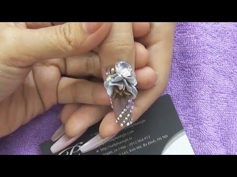 Mẫu nail ứng dụng salon Vol11: 1/3 Đắp hoa bột fantay cao cấp và trang trí đính đá lên móng tay
