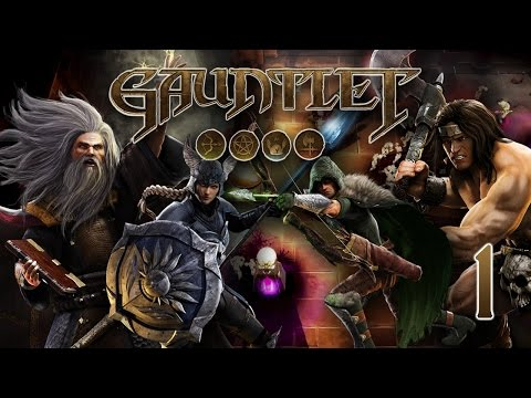1st - We play Gauntlet, an age old game series that's an arcade style sort of cooperative dungeon crawler. There's a wizard, warrior, elf, & valkyrie and we must kill everything! I used to play this...