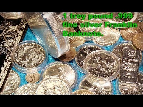 1 troy pound .999 fine silver Franklin banknote