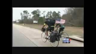 A cross country cyclist is bringing awareness to the area
