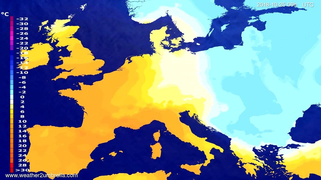 Temperature forecast Europe 2018-10-21