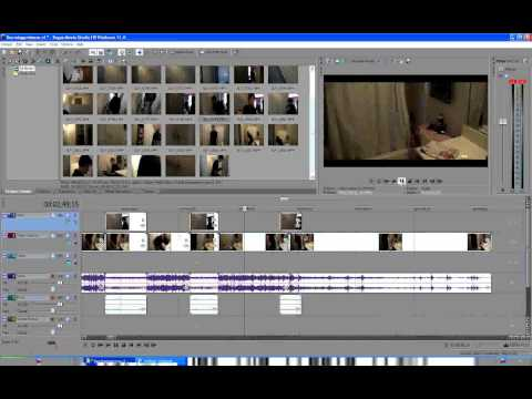 Timelapse of video editing in Sony Vegas Movie Studio HD 11