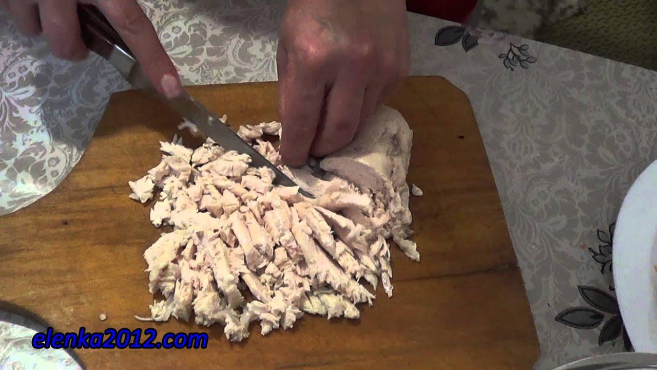 рецепт курица грибы салат