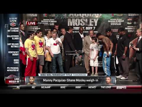Manny Pacquiao - Shane Mosley Weigh In Replay Video