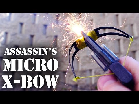 micro - This micro-crossbow carries 3 bolts, fires from any angle, shoots exploding tipped arrow heads, and launches wooden matches over 30 feet away! Who knew popsi...