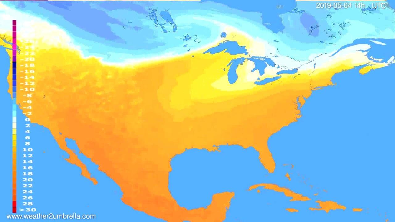 Temperature forecast USA & Canada // modelrun: 00h UTC 2019-05-02