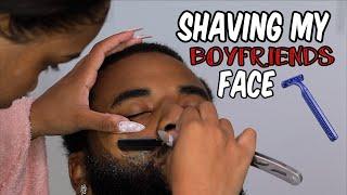 SHAVING MY BOYFRIENDS FACE | AALIYAHJAY by Ms Aaliyah Jay