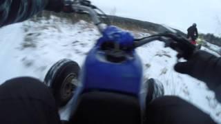 8. Yamaha Blaster YFS200 And Honda TRX450R Winter Ride. Temp -18