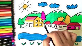 Coloring page village I How to draw house, mountain, river I Videos for kids