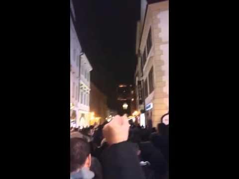 Corteo ultras Lazio a Praga