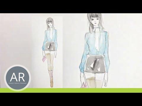 Modeskizze – Entwurf mit Bleistift und Aquarell