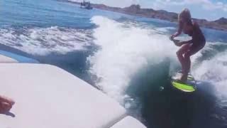 Blonde Girl Wakesurfing and Popping Champagne #wakesurf #poppinthebubbly #wakesurfpics #liquidforce #scwake #wakerhythm #girlsthatshred #lakelife #lakepleasa...