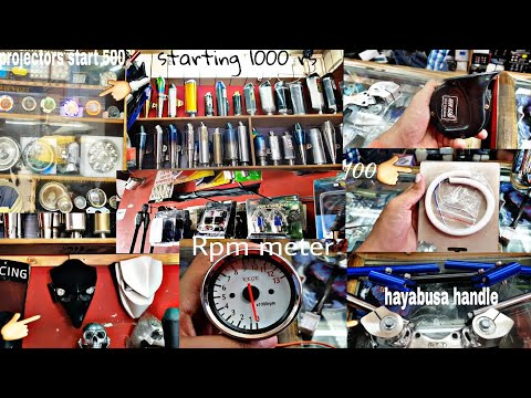 Cheapest accessories in karol bhag wholesale Rpm meter, harley wheels, projectors, different silncer