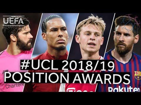 ALISSON, VAN DIJK, DE JONG, MESSI Positional Award Winners for the 201819 UEFA Champions League