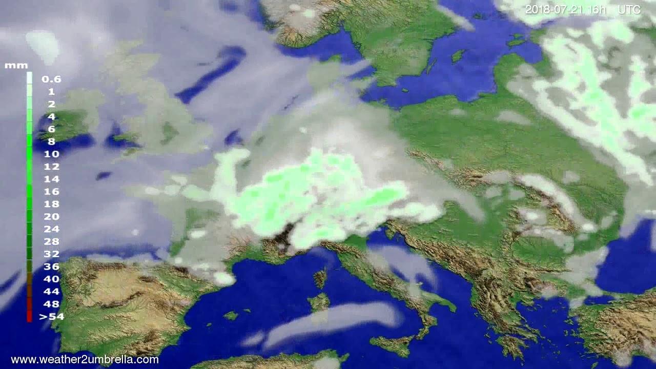 Precipitation forecast Europe 2018-07-18