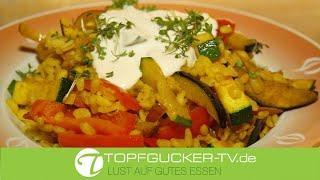 Gemüse - Zartweizen - Paella mit Creme fraiche | vegetarisch Kochen | Topfgucker-TV