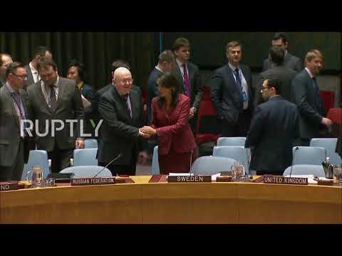 Российские и  Американский посланники ООН пожимают руку перед совещанием СБ ООН