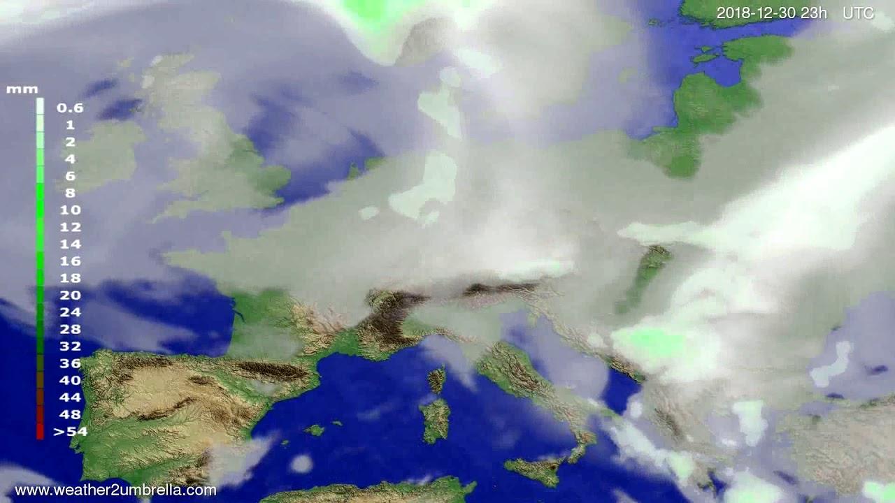 Precipitation forecast Europe 2018-12-27