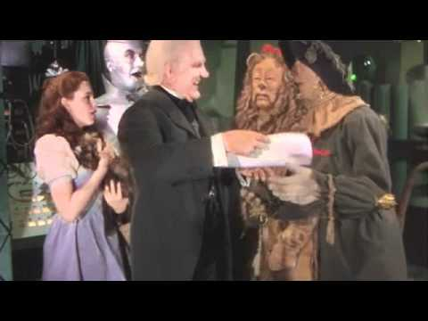 Video of the scarecrow getting his diploma in the Wizard of Oz
