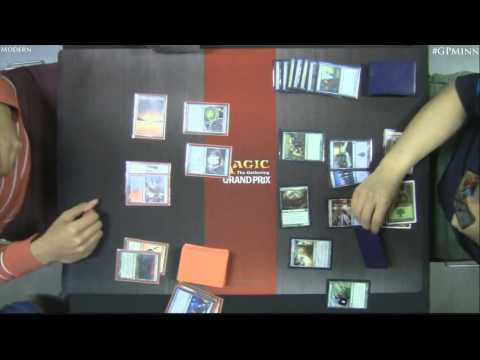 Modern - Watch Pro Tour Born of the Gods champion Shaun McLaren (UWR Kiki Control) battle Andrew Huska (Jund) and Jun Young Park (Scapeshift) battle Gregory Orange (U...
