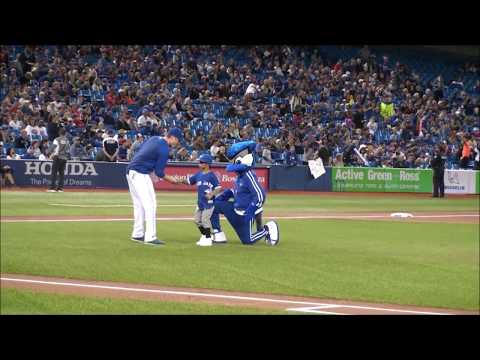 Ammaar- Throwing Ceremonial First before the Blue Jays game at Rogers Center