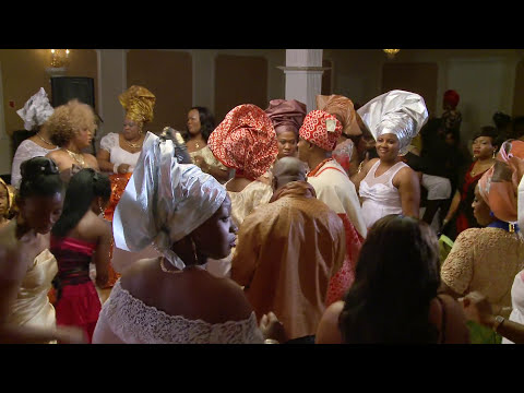 Newlyweds Entrance in Traditional Nigerian Wedding Outfits TAJ Banquet Hall North York Videographer
