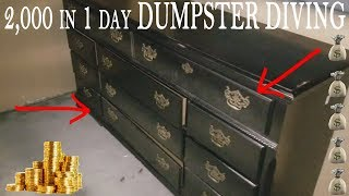 DUMPSTER DIVING - How To Resale Free Stuff You Find Make 2,000 Dollars In 1 Day!!