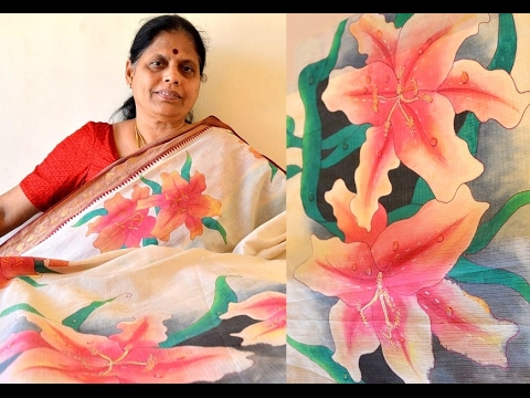Wet on Wet Technique - Floral pattern on a saree