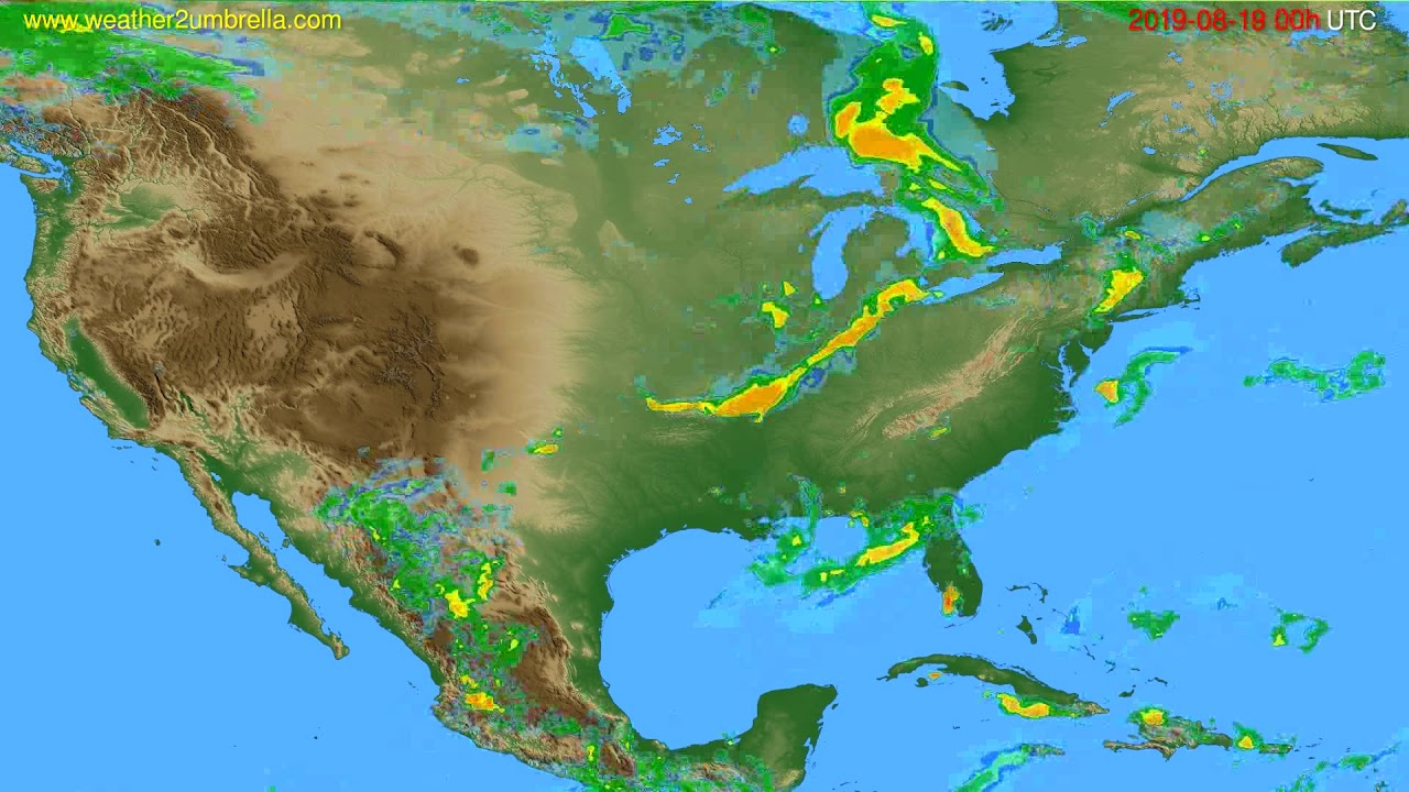 Radar forecast USA & Canada // modelrun: 12h UTC 2019-08-18