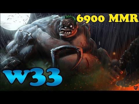 Dota 2 - W33 PRO Pudge vol 2# Smurf account 6,9MMR - Ranked Match Gameplay !