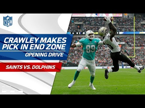Video: Crawley Makes Crucial Pick on Cutler's Pass in the End Zone | Saints vs. Dolphins | NFL in London