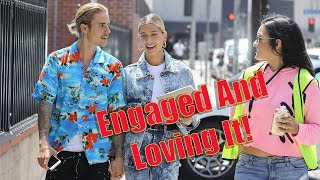 Download Video EXCLUSIVE - Justin Bieber And Hailey Baldwin Give The Sweetest Interview To Fans On The Street! MP3 3GP MP4