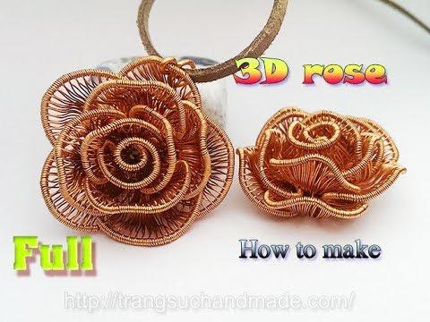 3D Rose Flower pendant - How to make handmade jewelry - full version ( slow ) 359