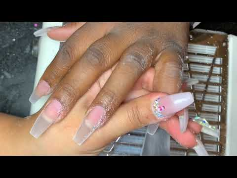 Acrylic Nails Tutorial  Red Bling Nails  Coffin Nails  Acrylic Fill