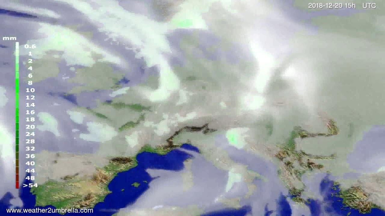 Precipitation forecast Europe 2018-12-18