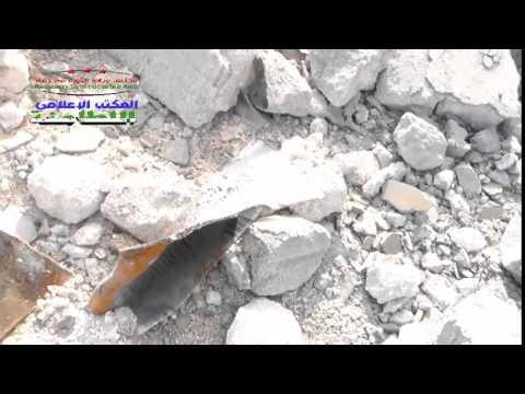 حماة : الريف الشمالي : آثار الدمار من جراء القصف بالبراميل المتفجرة من الطيران المروحي على مدينة اللطامنة مساء أمس