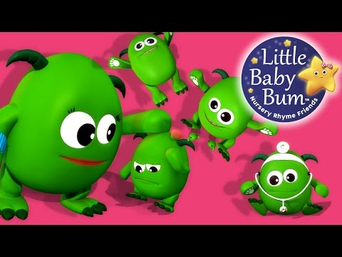 Five Little Monsters Jumping On The Bed | Nursery Rhymes | By LittleBabyBum!