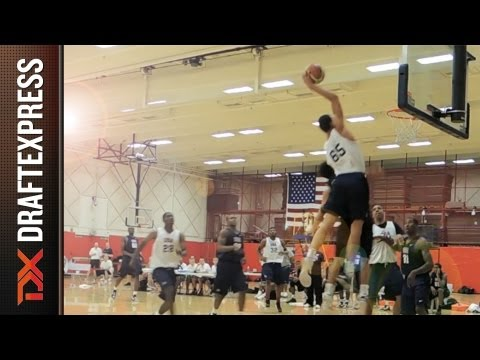 Basketball - A thunderous dunk by Aaron Gordon at USA Basketball U19 World Championship Training Camp. Pass by Jahlil Okafor.